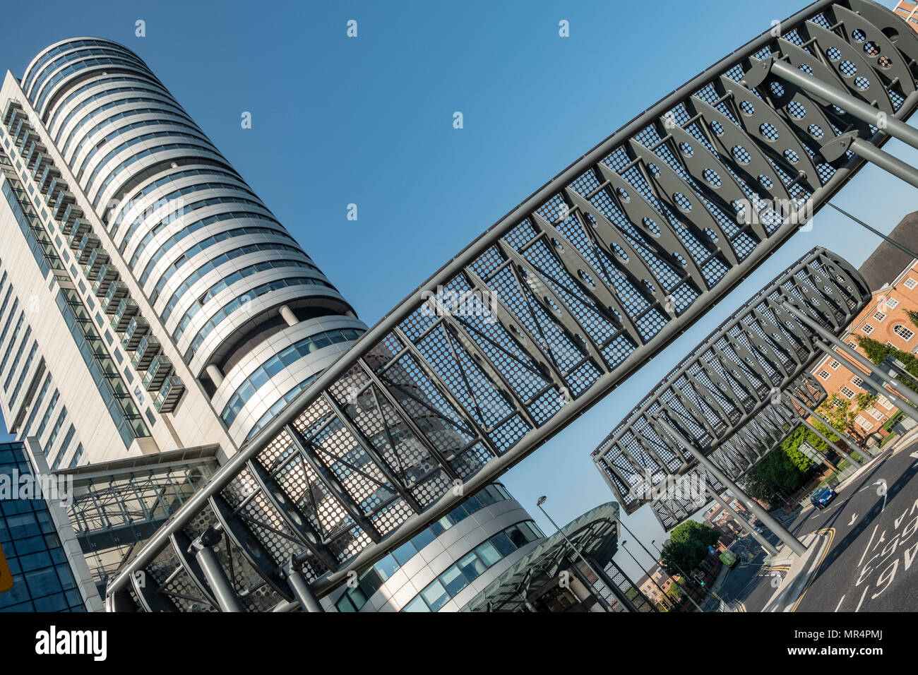 Giant Wind Deflectors or Baffles outside Bridgewater Place, Leeds, West Yorkshire, England - Stock Image