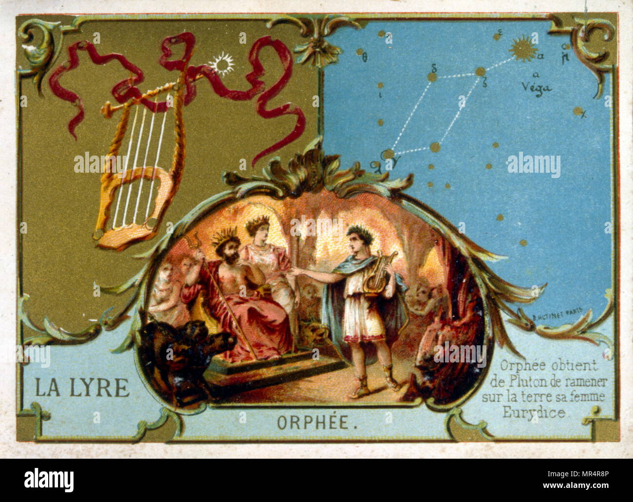 French chromolithograph showing the legend of Orpheus. Circa 1890. Orpheus is a legendary Thracian musician, poet, and prophet in ancient Greek religion and myth. The major stories about him are cantered on his ability to charm all living things - Stock Image