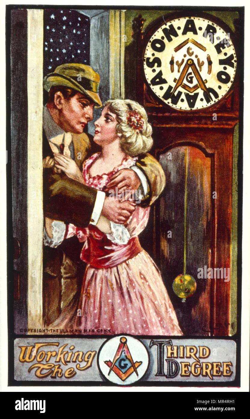 Humorous postcard card satirising British Freemasonry. 1905 - Stock Image