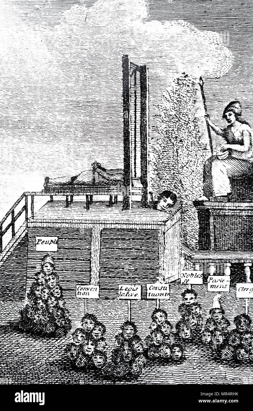 Satirical cartoon depicting victims of the guillotine. Dated 19th century - Stock Image