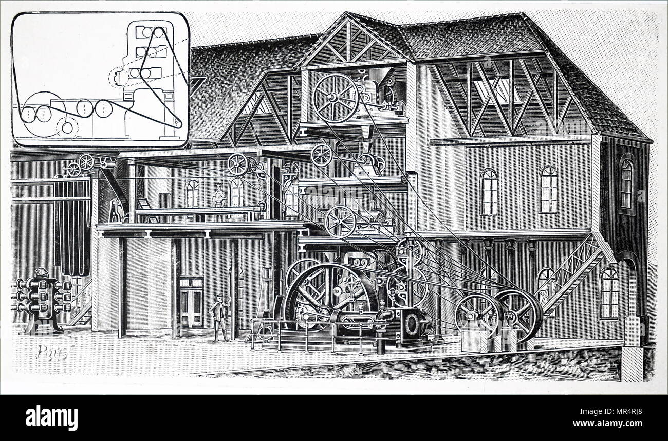 Cut-away view of an early 20th century linoleum factory. Pictured is a machine used for clandering and finishing the linoleum  inset. Dated 20th century - Stock Image