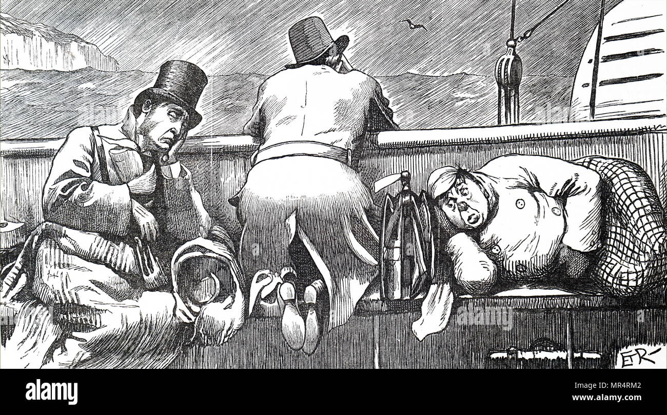 Cartoon depicting passengers of a channel steamer who feel sea sick due to rough seas. Dated 19th century - Stock Image