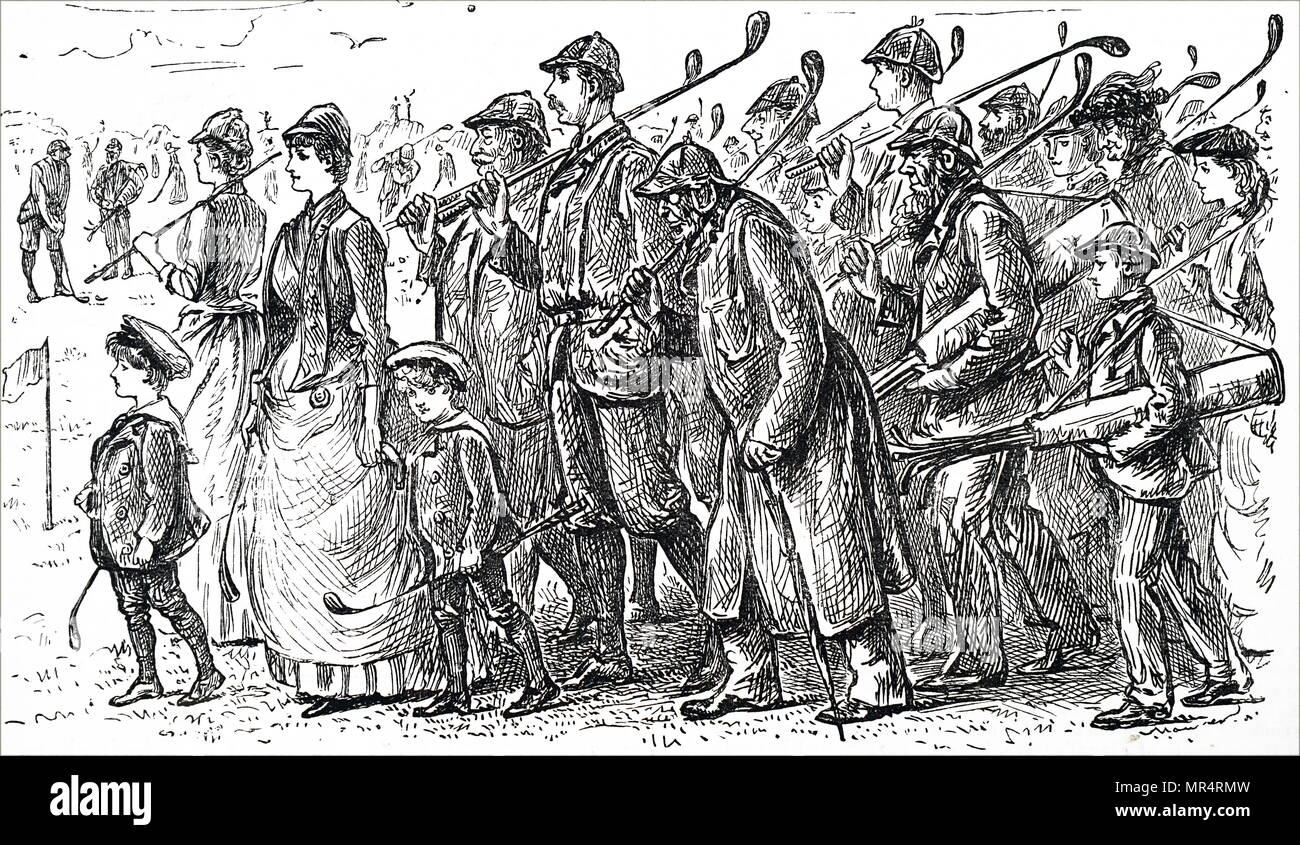 Cartoon commenting on the growing popularity of golf. Illustrated by George du Maurier (1834-1896) a Franco-British cartoonist and author. Dated 19th century Stock Photo