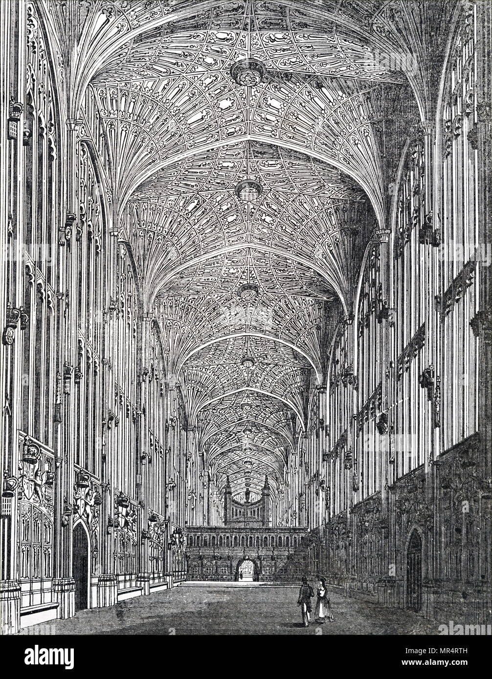 Engraving depicting the interior of King's College Chapel, Cambridge, showing the fan vaulted celling. Dated 19th century Stock Photo