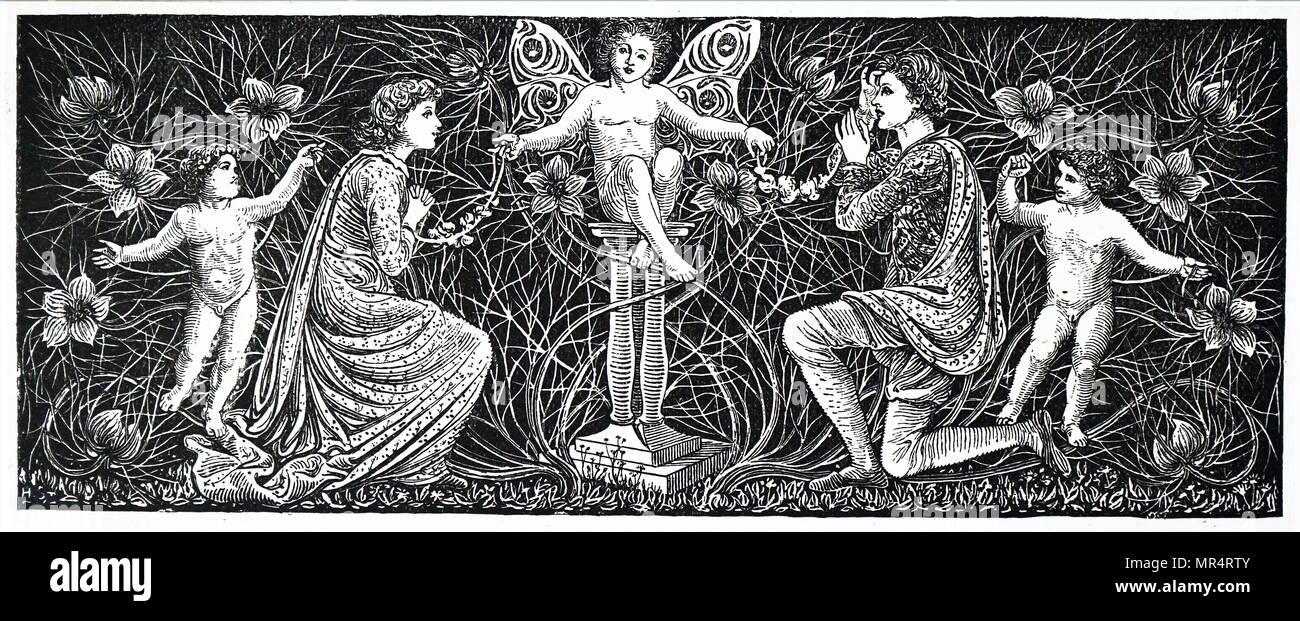 Headpiece depicting fairies by George Heywood Sumner. George Heywood Maunoir Sumner (1853-1940) an English painter, illustrator and craftsman. Dated 19th century - Stock Image