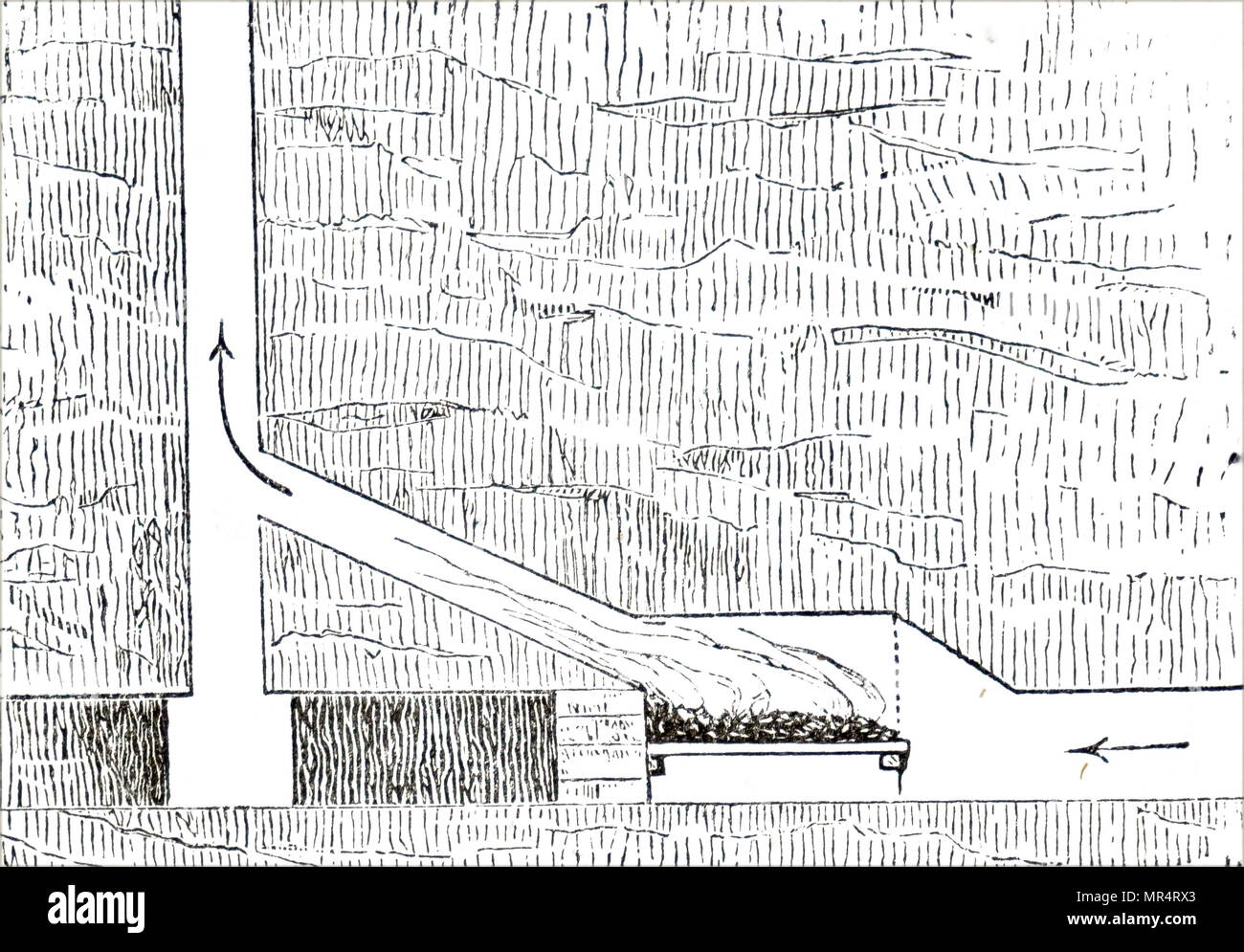 Sectional view of a furnace ventilation shaft typical of many coal mines. The hot air from the fire escaped up the shaft, drawing air down either the main shaft or other special ventilating shafts by means of the draft it created. In this way the otherwise still air at the bottom of the mine was renewed and the danger of a build-up  of firedamp lessened. Dated 19th century - Stock Image