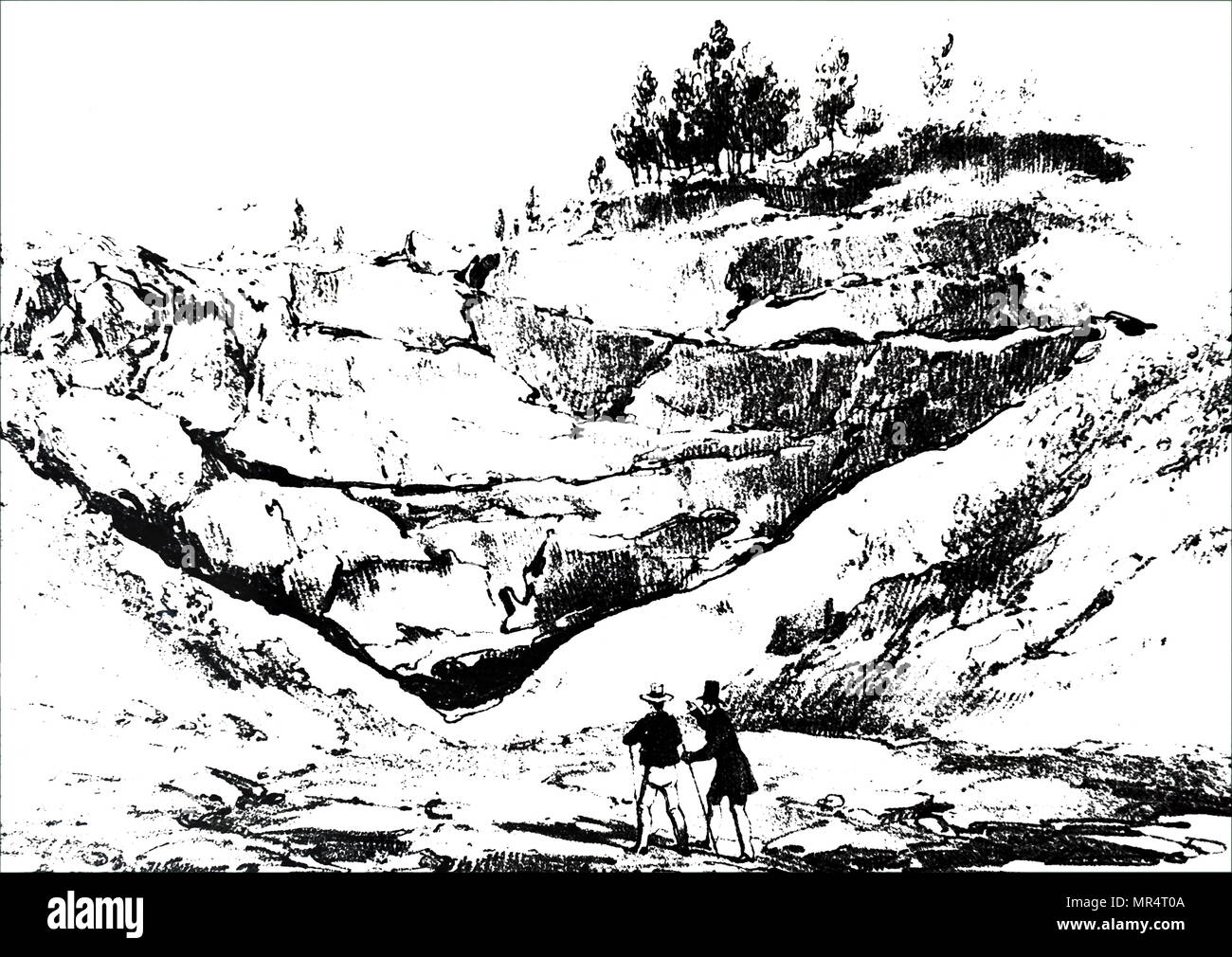 Engraving depicting beds of solid lava from Mount Vesuvius in Fosso Grande. Dated 19th century - Stock Image