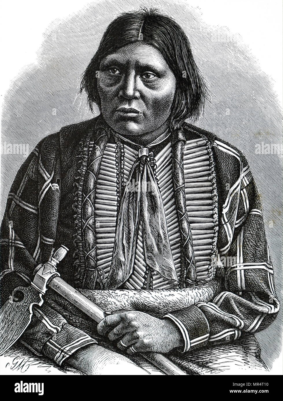Portrait of Grey Eagle, an Apache chief. The Apache are a group of culturally related Native American tribes in the South-western United States. Dated 19th century - Stock Image