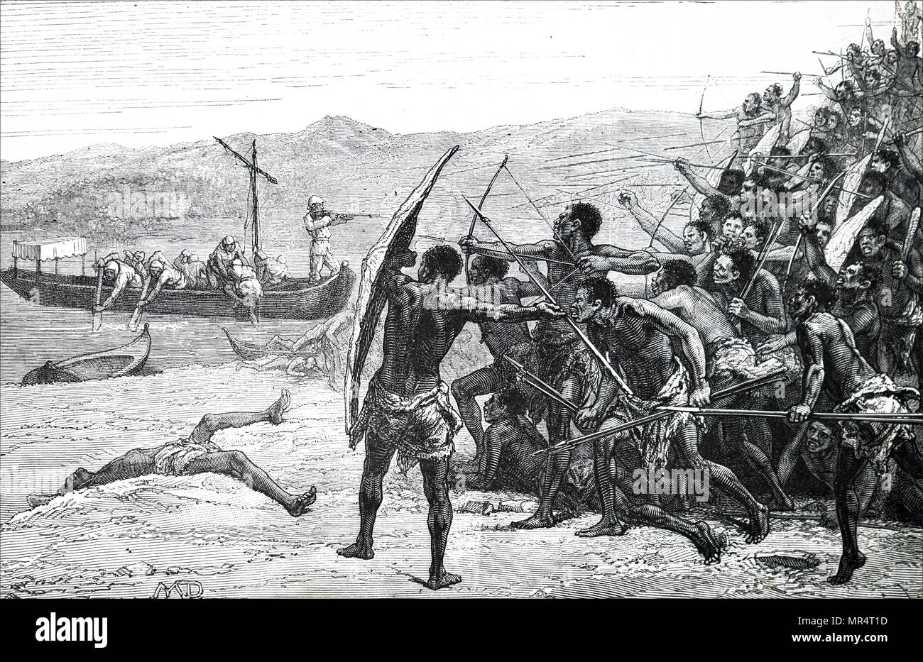 Engraving depicting the 'Lady Alice' being attacked at Bambireh. Dated 19th century - Stock Image