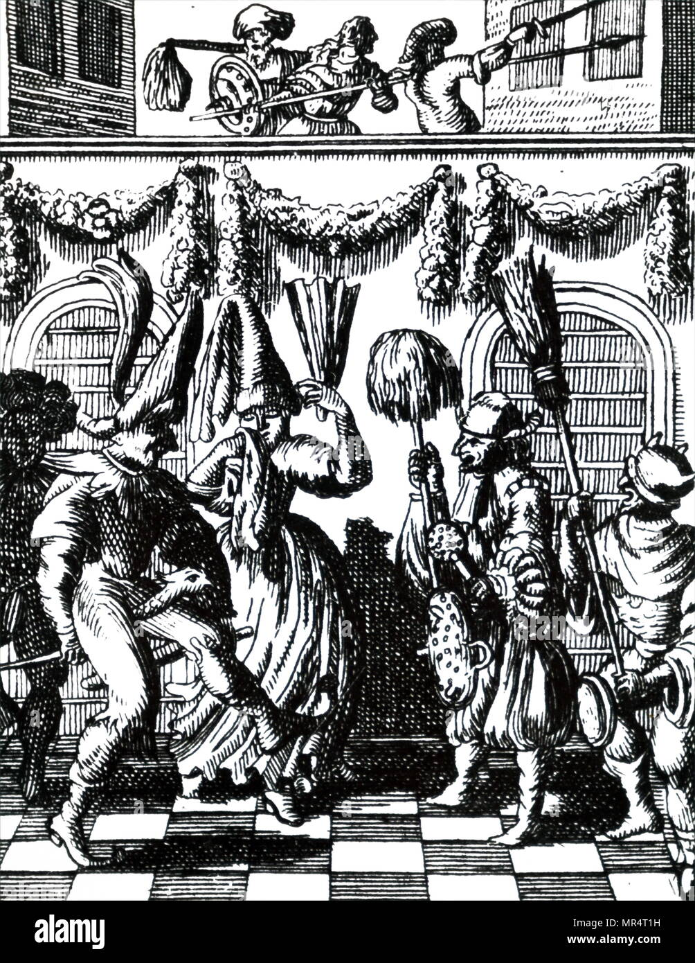 Engraving depicting the celebration of Purim. Purim is a Jewish holiday that commemorates the saving of the Jewish people from Haman, who was planning to kill all the Jews. Dated 18th century - Stock Image