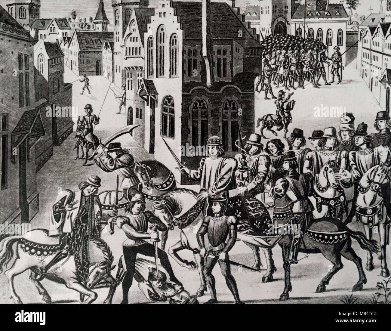 Engraving depicting William Walworth striking Wat Tyler as he speaks to Richard II at Smithfield. Tyler was taken to St Bartholomew's Hospital, but Walworth had him dragged out and beheaded. Sir William Walworth (d. 1385), was twice Lord Mayor of London, best known for killing Wat Tyler. Wat Tyler (1342-1381) leader of the 1381 Peasants' Revolt in England. Richard II of England (1367-1400) King of England. Dated 16th century - Stock Image