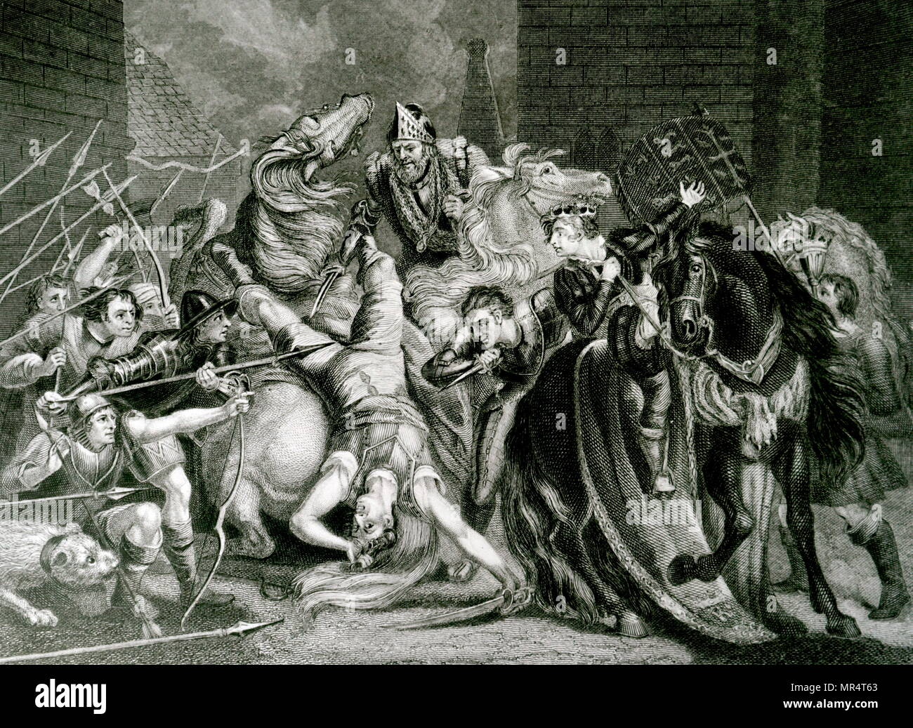 Engraving depicting William Walworth striking Wat Tyler as he speaks to Richard II at Smithfield. Tyler was taken to St Bartholomew's Hospital, but Walworth had him dragged out and beheaded. Sir William Walworth (d. 1385), was twice Lord Mayor of London, best known for killing Wat Tyler. Wat Tyler (1342-1381) leader of the 1381 Peasants' Revolt in England. Richard II of England (1367-1400) King of England. Dated 19th century - Stock Image