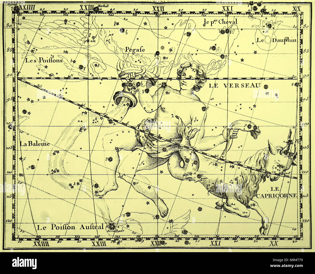 Engraving depicting the constellations of Aquarius and Capricorn both constellations of the Zodiac. Dated 18th century - Stock Image