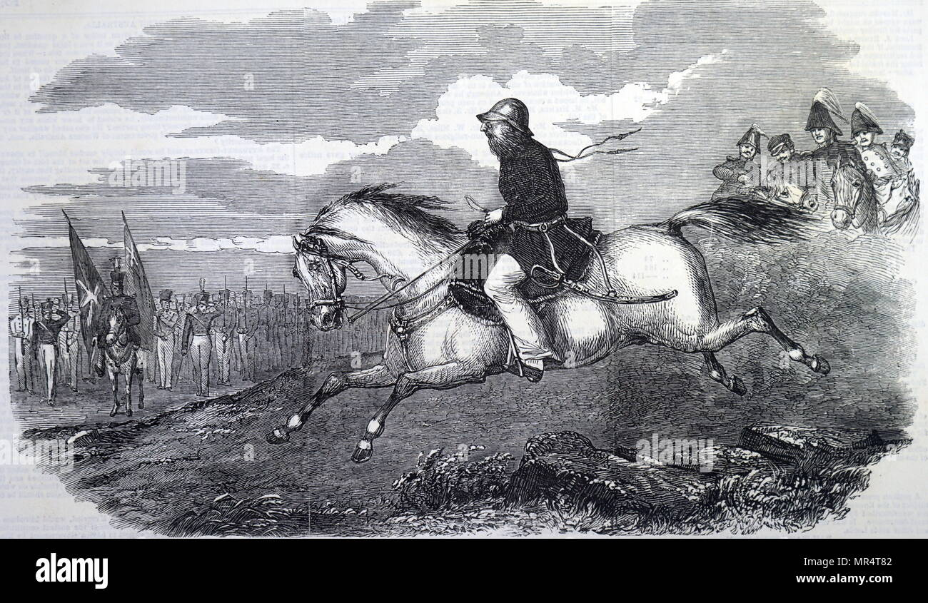 Engraving depicting Charles James Napier (1782-1853) a soldier and governor of the British Empire and the British Army's Commander-in-Chief in India. Dated 19th century - Stock Image