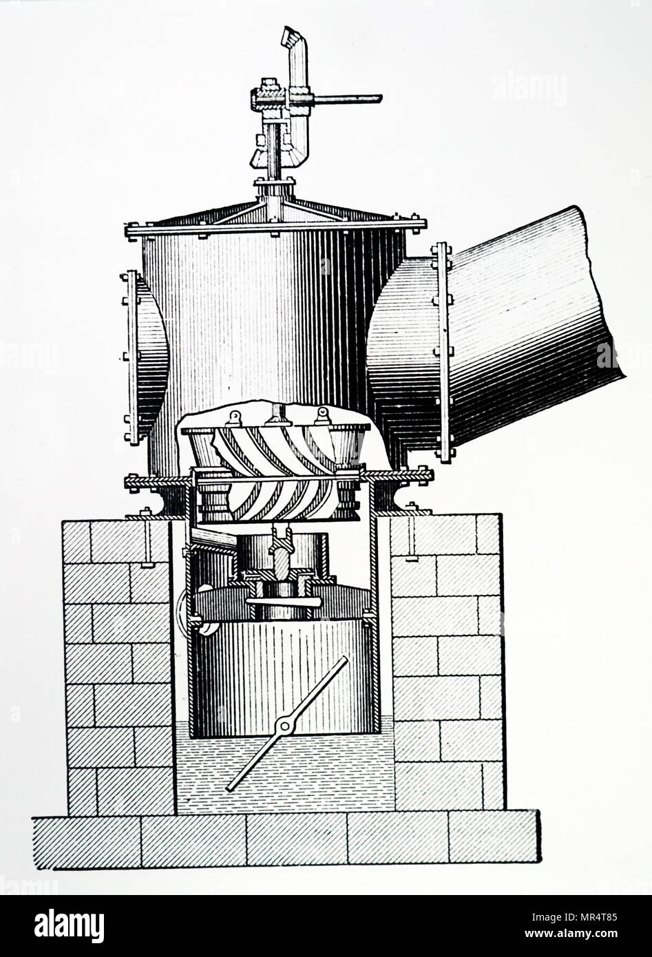 Engraving depicting a Watson's turbine on the Joval (downward flow) principle. Dated 19th century - Stock Image