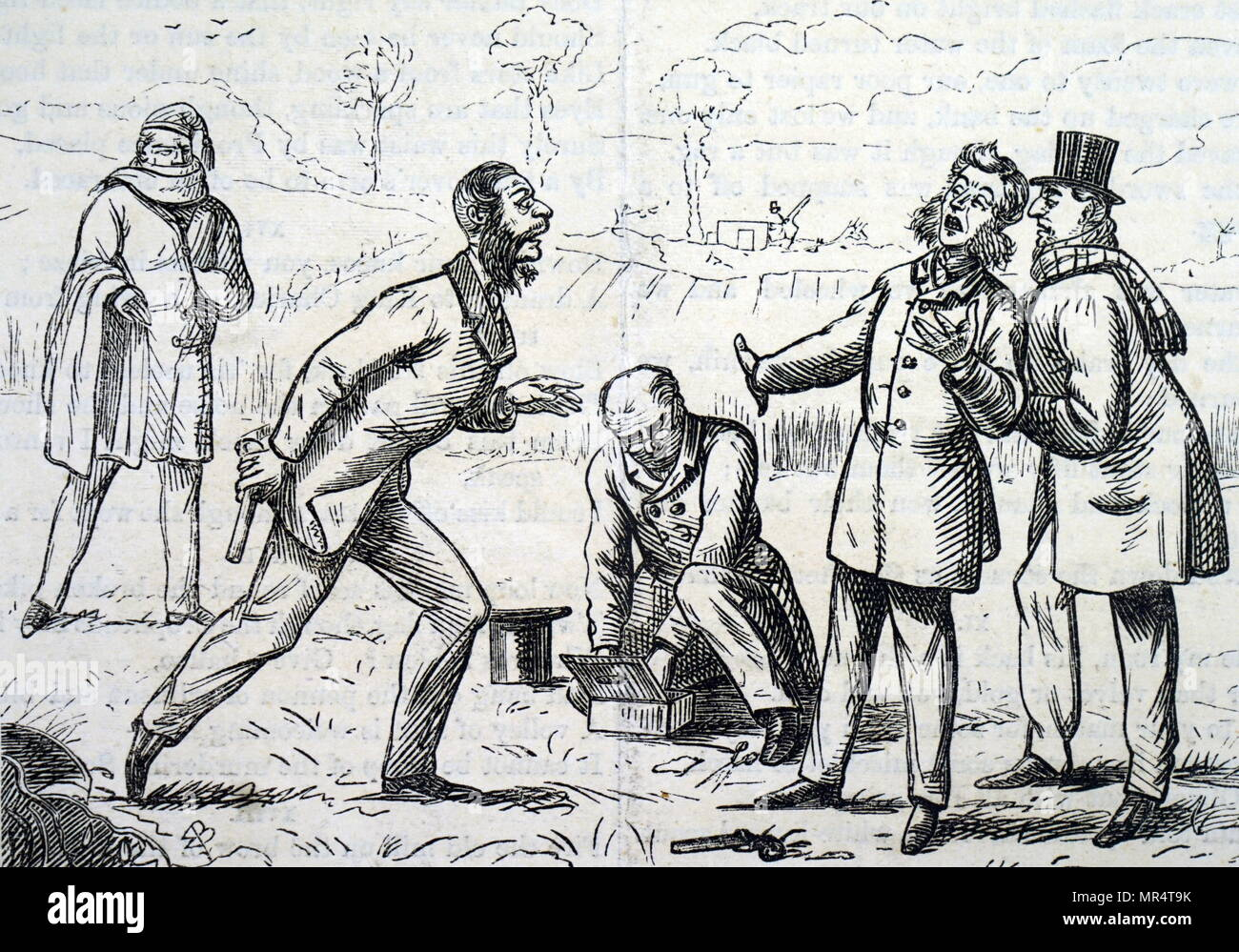 Cartoon depicting two quarrelling gentlemen preparing to duel to settle their argument. Dated 19th century - Stock Image