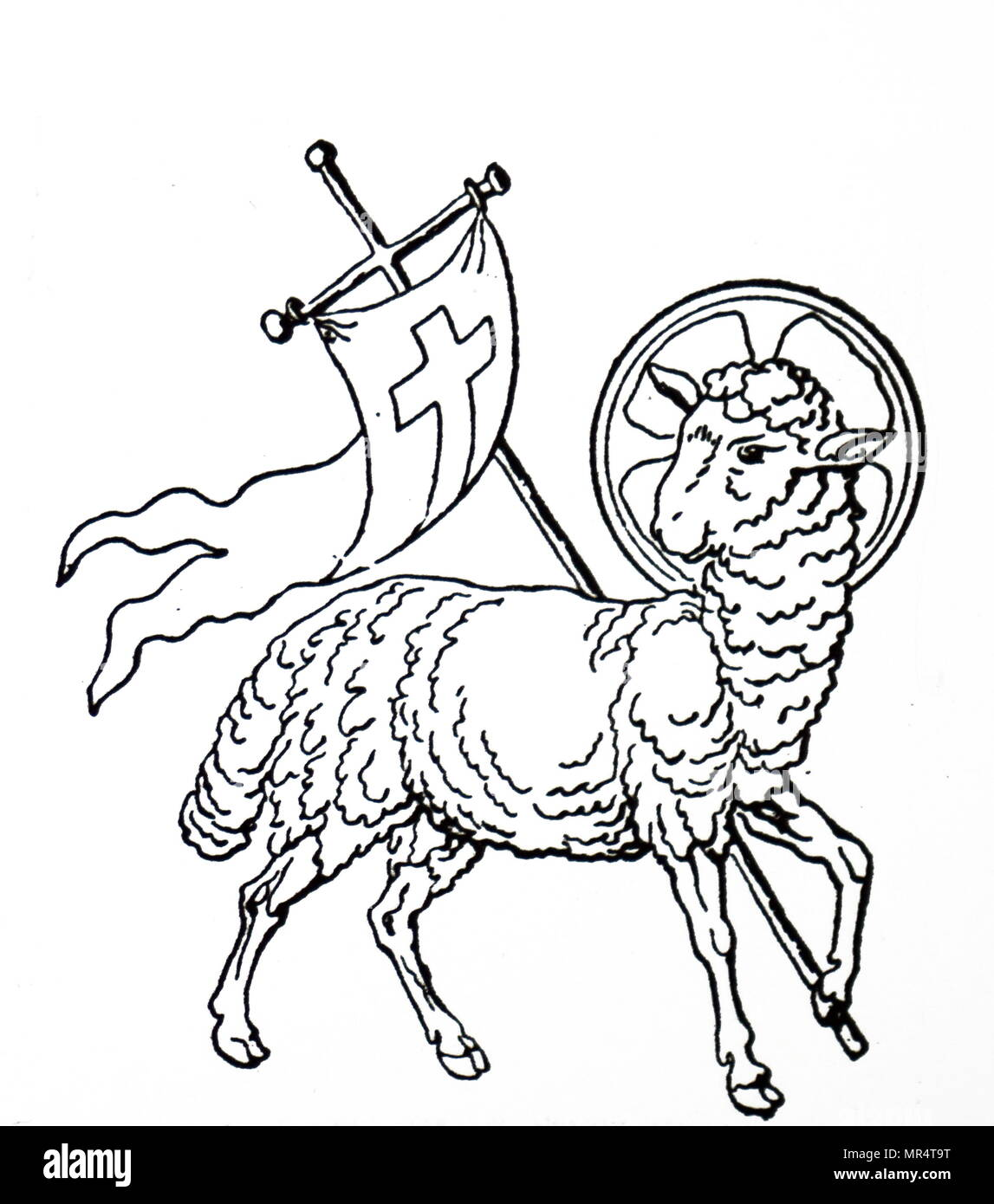 lamb and flag stock photos lamb and flag stock images alamy Old French Flag in 1500s woodblock engraving depicting the lamb of god the figure of the lamb carrying a cross