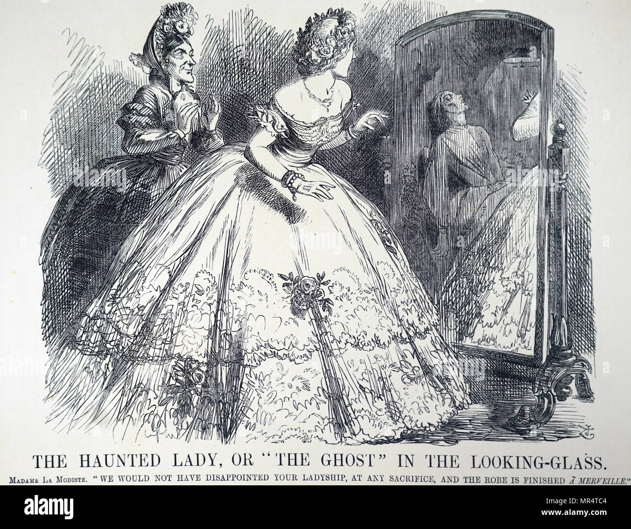 Cartoon titled 'The Haunted Lady'  The dressmaker enthusing