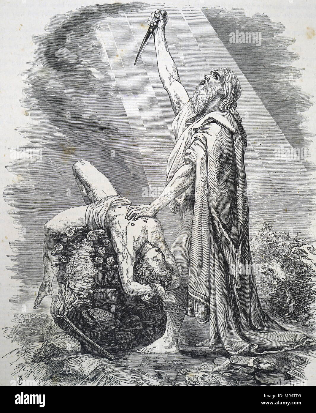 Engraving depicting Abraham offering his son Isaac as a Sacrifice to God. Because of his obedience, God released him from his vow, and placed a ram nearby which Abraham could sacrifice in place of Isaac. Dated 17th century - Stock Image