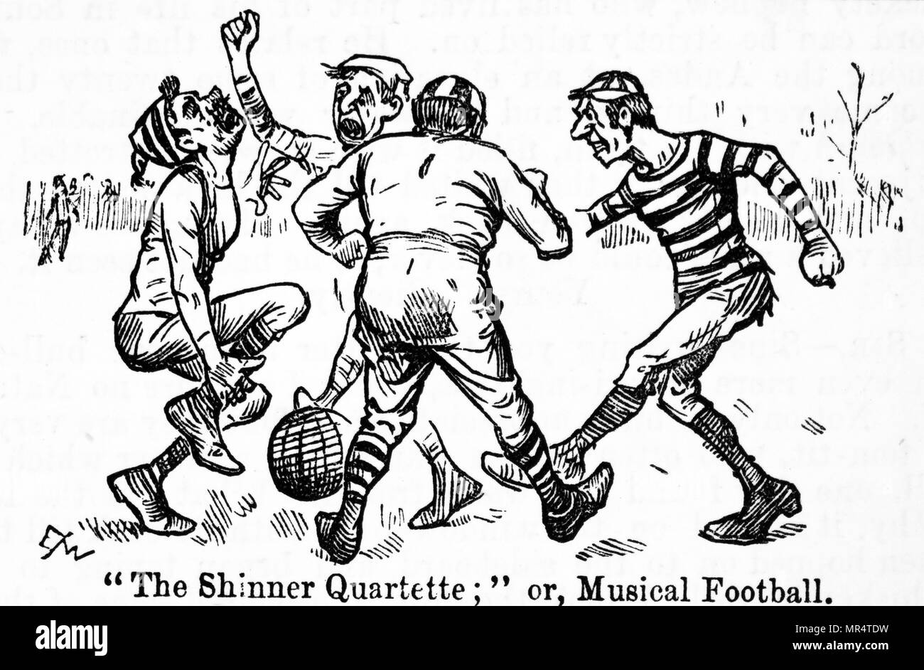 Cartoon depicting a football match between amateurs. Dated 19th century - Stock Image