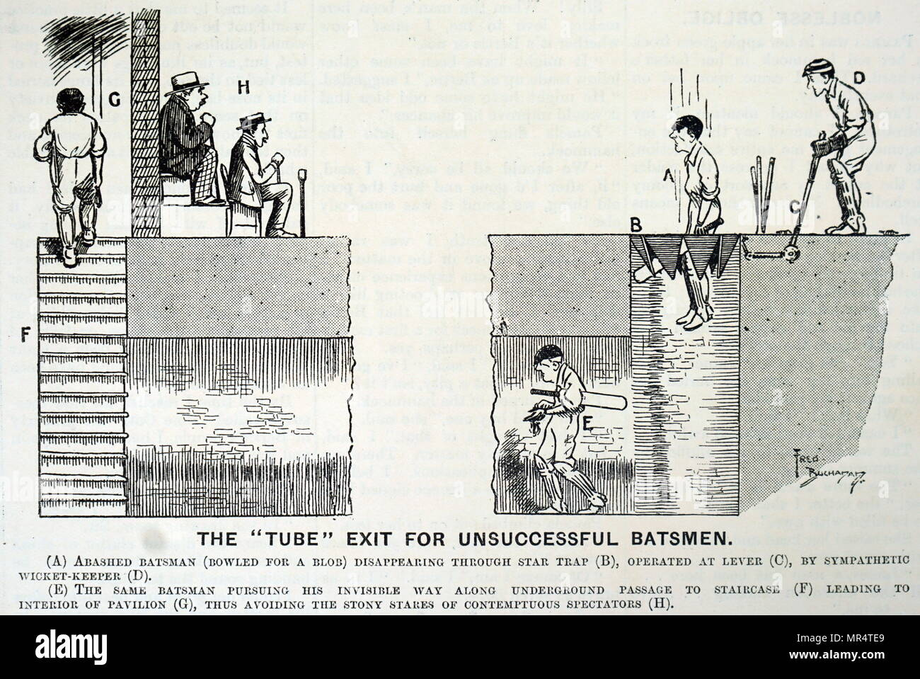 Cartoon depicting an idea for saving a failed batsman from the humiliation of walking to the pavilion under the gaze of spectators. Dated 20th century - Stock Image