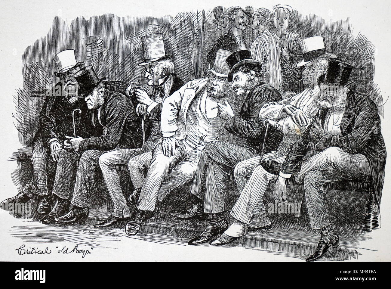 Engraving depicting spectators at the Eton and Harrow cricket match. Dated 19th century - Stock Image