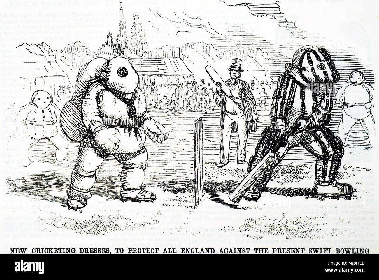 Cartoon depicting suggested protective clothing to help the All England cricket team against the latest fast bowling. Dated 19th century - Stock Image