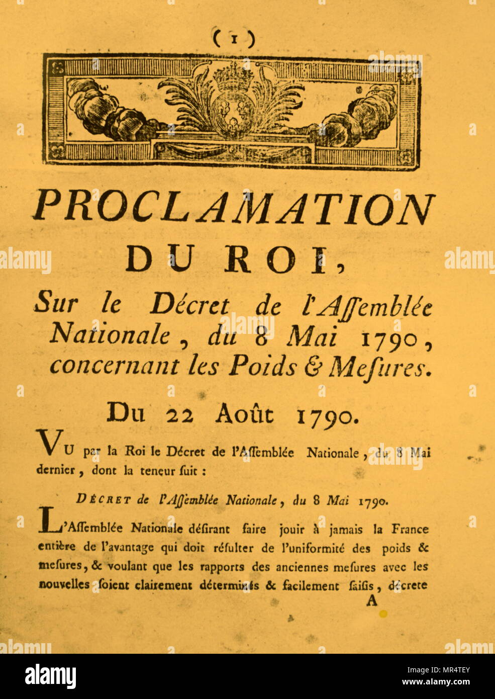 The royal proclamation on the standardisation of measurements throughout France. Dated 18th century - Stock Image