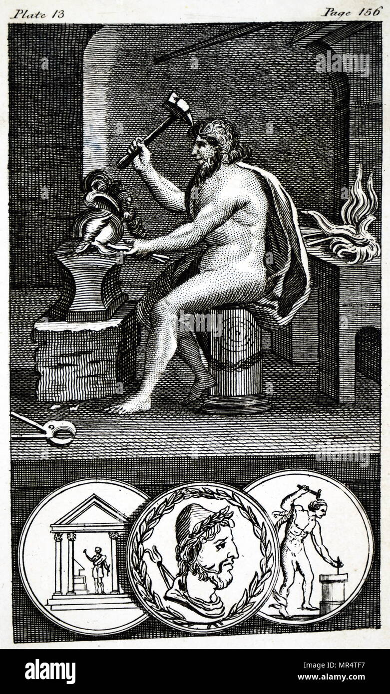 Engraving depicting the Roman God Vulcan, God of Fire. Dated 18th century - Stock Image