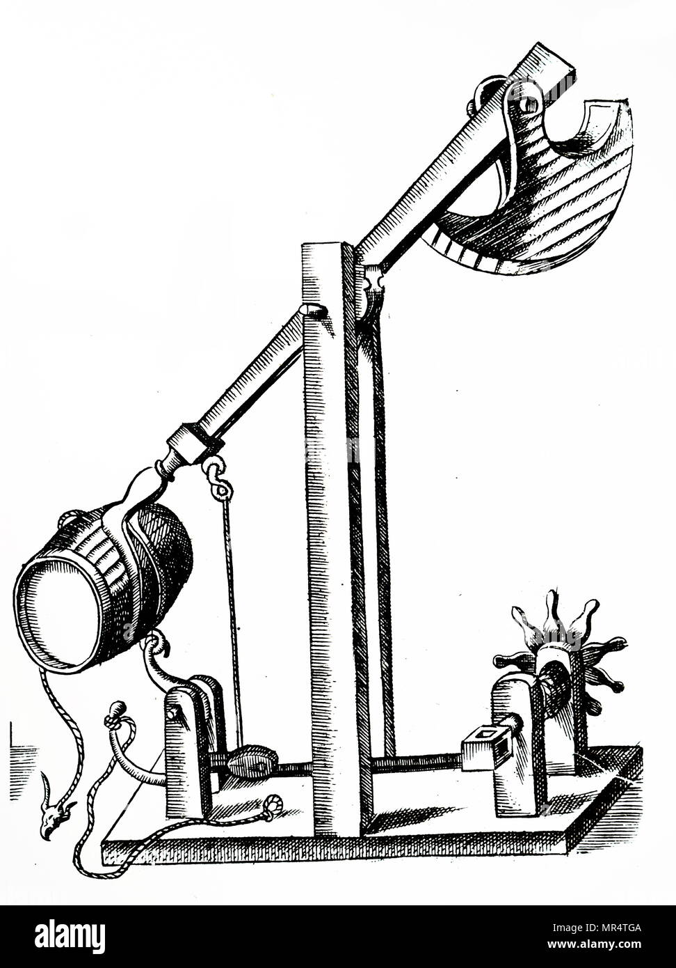 Ballista Stock Photos Images Alamy Catapult Diagram Related Keywords Suggestions Engraving Depicting A Mechanical Wound Up By Winch Right When The