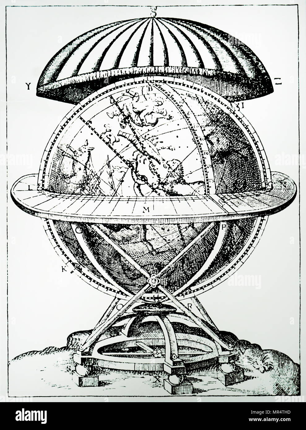 Engraving depicting Tycho Brahe's great celestial globe on which he plotted the positions of the stars he observed. Tycho Brahe (1546-1601) a Danish nobleman, astronomer, and writer know for his accurate and comprehensive astronomical and planetary observations. Dated 17th century - Stock Image