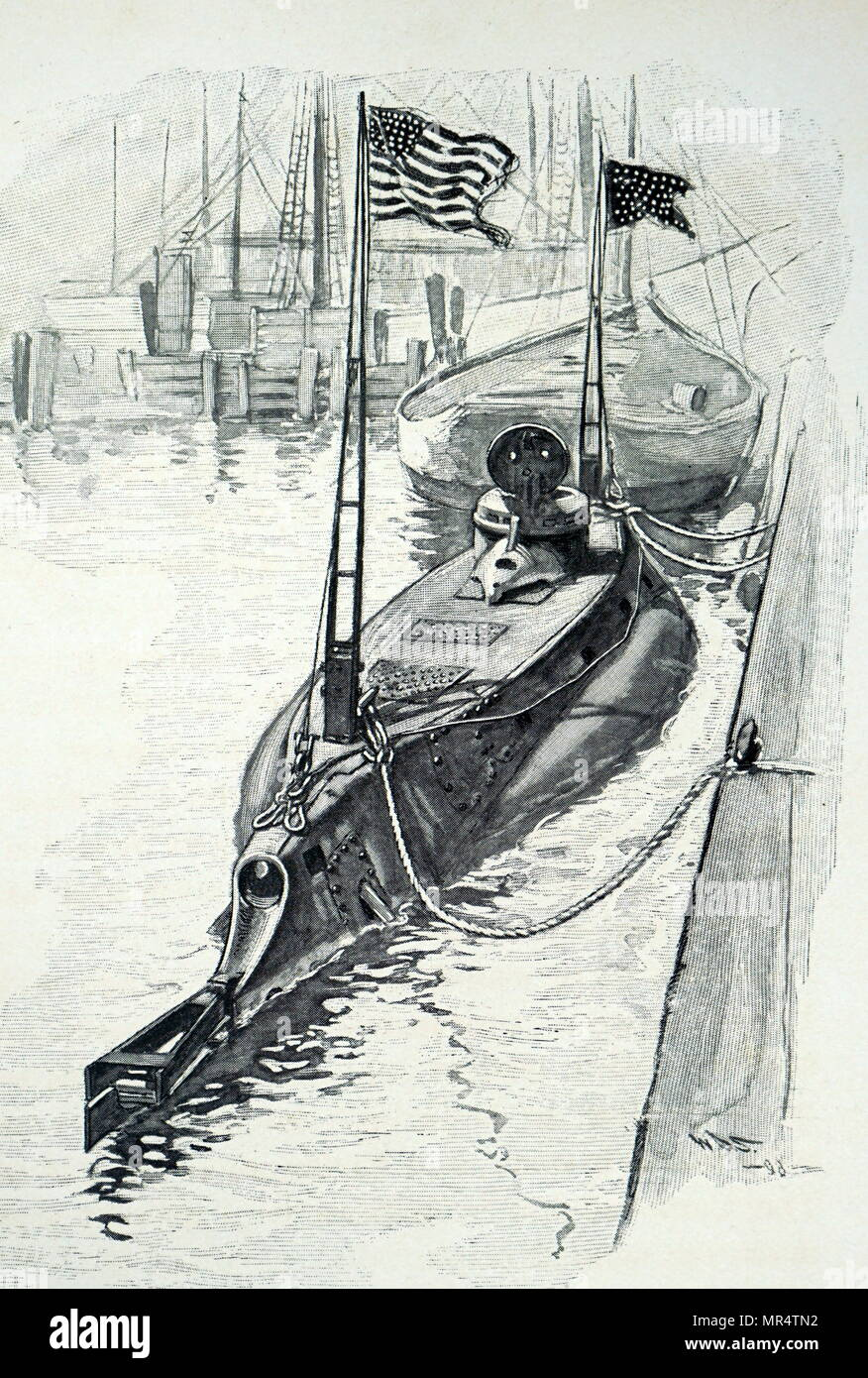 Illustration depicting John P. Holland's dual propulsion submarine. On the surface it was powered by a 160hp engine, and while under water a 70hp electric motor was used. John Philip Holland (1840-1914) an Irish engineer who developed the first submarine to be formally commissioned by the US Navy, and the first Royal Navy submarine, Holland 1. Dated 20th century - Stock Image