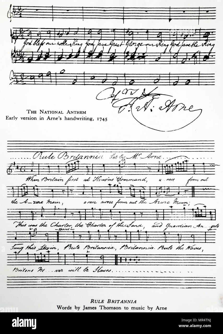 Sheet music for the British National Anthem and Rule Britannia composed by Thomas Arne. Thomas Arne (1710-1778) an English composer. Dated 18th century - Stock Image