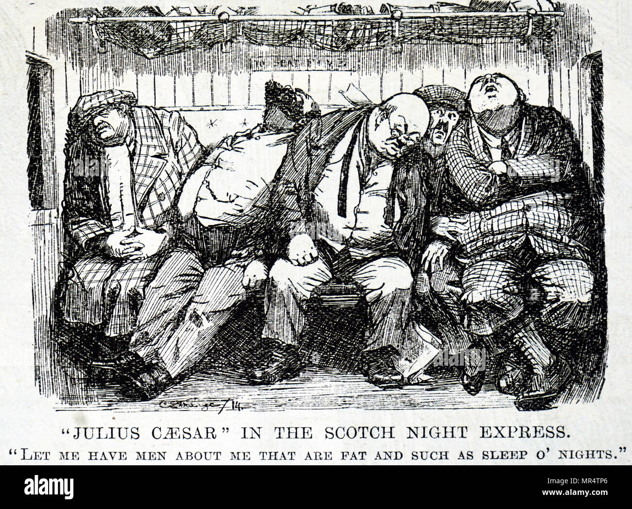 Cartoon commenting on the lack of comfort on railway transport - a skinny gentleman is squashed between other fat passengers. Below is a quote by Julius Caesar 'Let me have men about me that are fat and such as sleep o'nights'. Dated 19th century - Stock Image