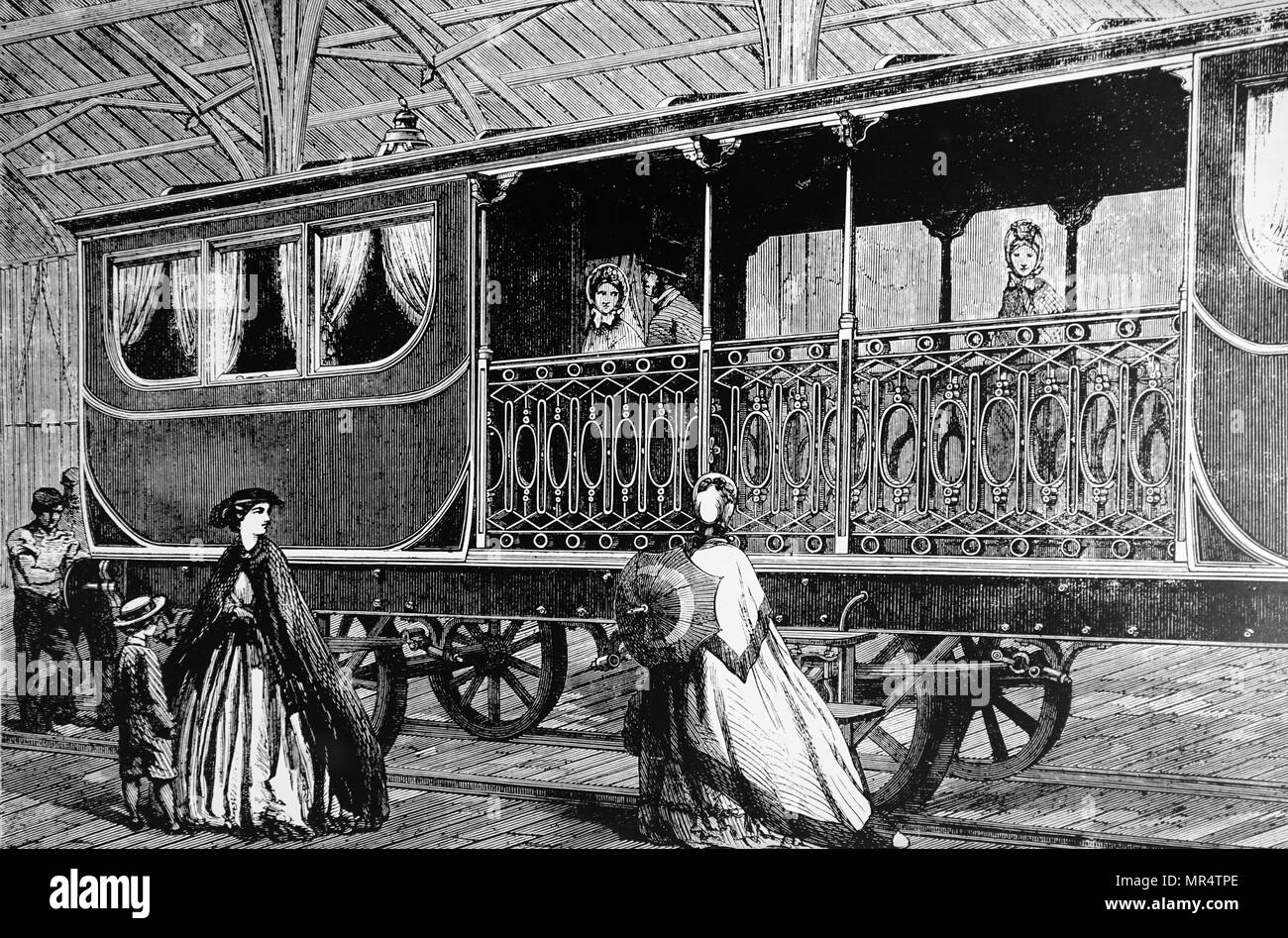 Engraving depicting a Belgian first-class carriage on show at the International Exhibition in London. Dated 19th century - Stock Image