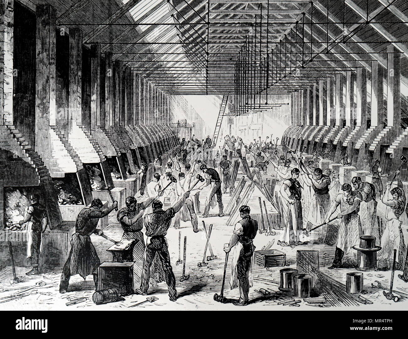 Engraving depicting the Railway Carriage Company's works in Oldbury. Dated 19th century - Stock Image