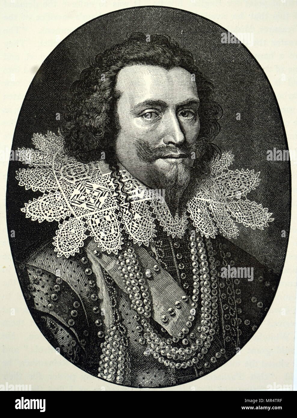 Engraved portrait of George Villiers, 1st Duke of Buckingham (1592-1628) an English courtier, statesman, and patron of the arts. Dated 17th century - Stock Image