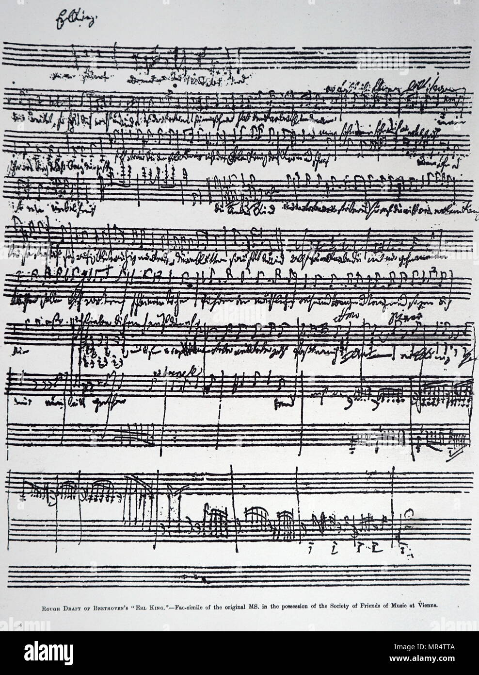 "Draft of Beethoven's ""Erlkönig"". Ludwig van Beethoven (1770-1827) a German composer and pianist. Dated 19th century Stock Photo"