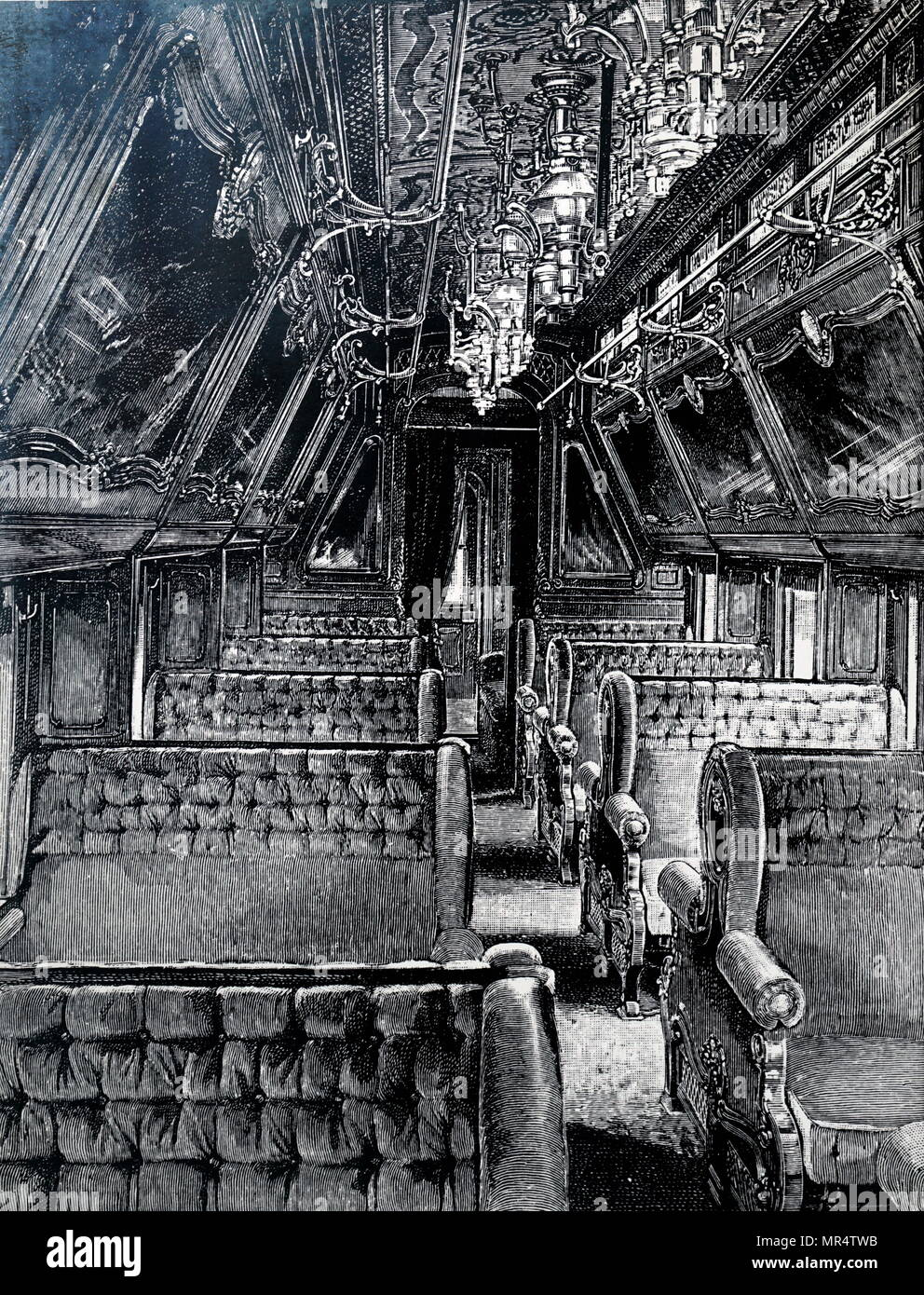 Engraving depicting a Pullman sleeper car on a vestibule train, which has enclosed vestibules at their ends, in contrast to the open platforms on early cars. Dated 19th century - Stock Image