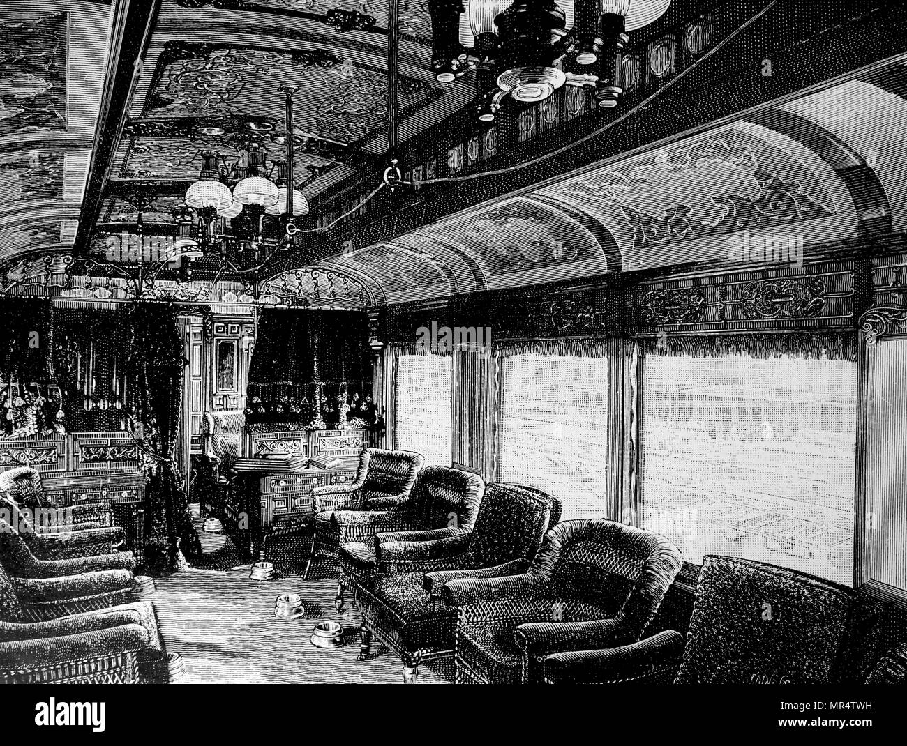 Engraving depicting the interior of a Wagner parlour car. Dated 19th century - Stock Image