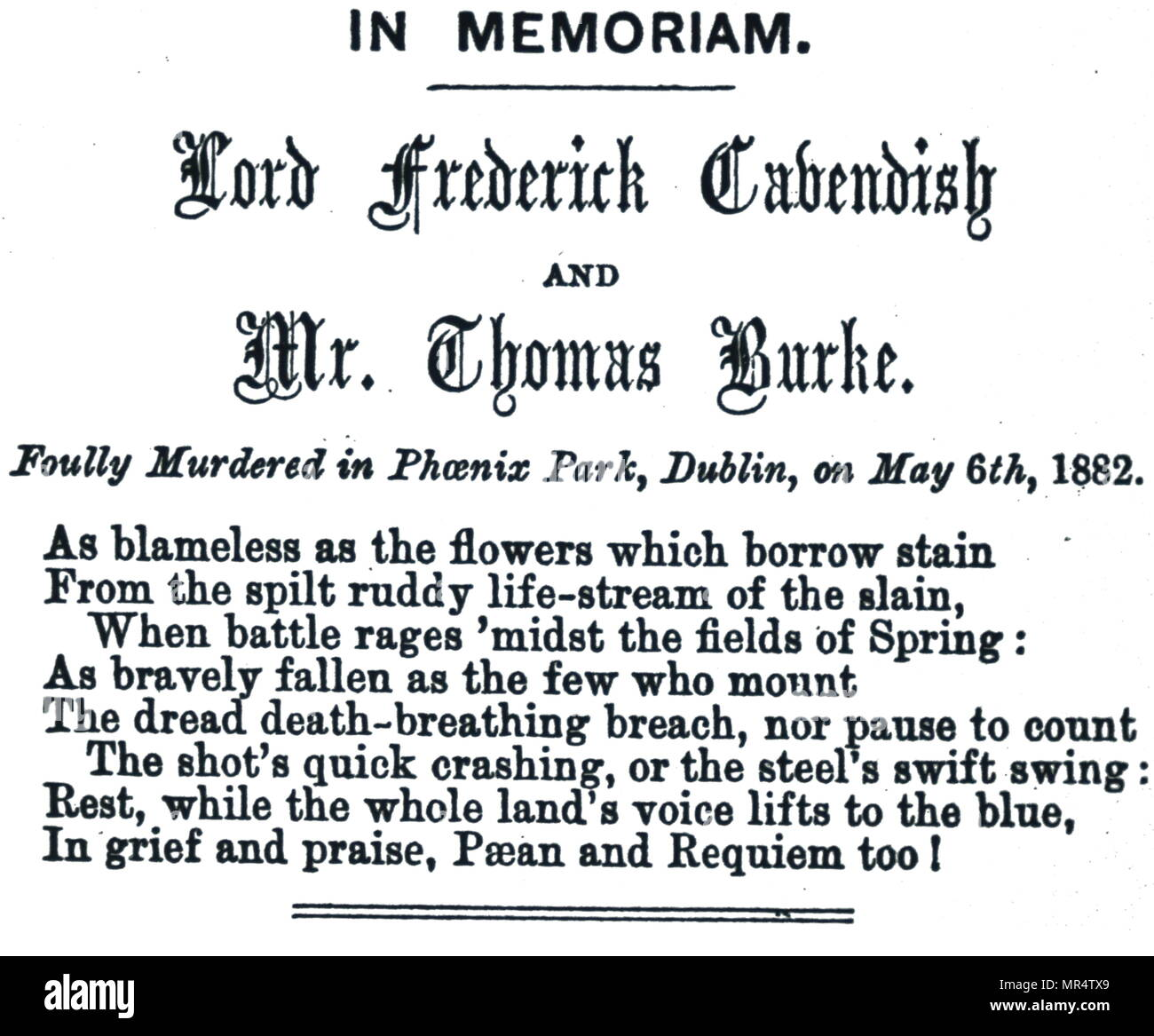 Memorial notice to Lord Frederick Cavendish (1836-1882) an English liberal politician and Thomas Henry Burke (1829-1882) Permanent Under Secretary at the Irish Office. Both Cavendish and Burke were killed during the Phoenix Park Murders by members of the rebel group Irish National Invincibles. Dated 19th century - Stock Image