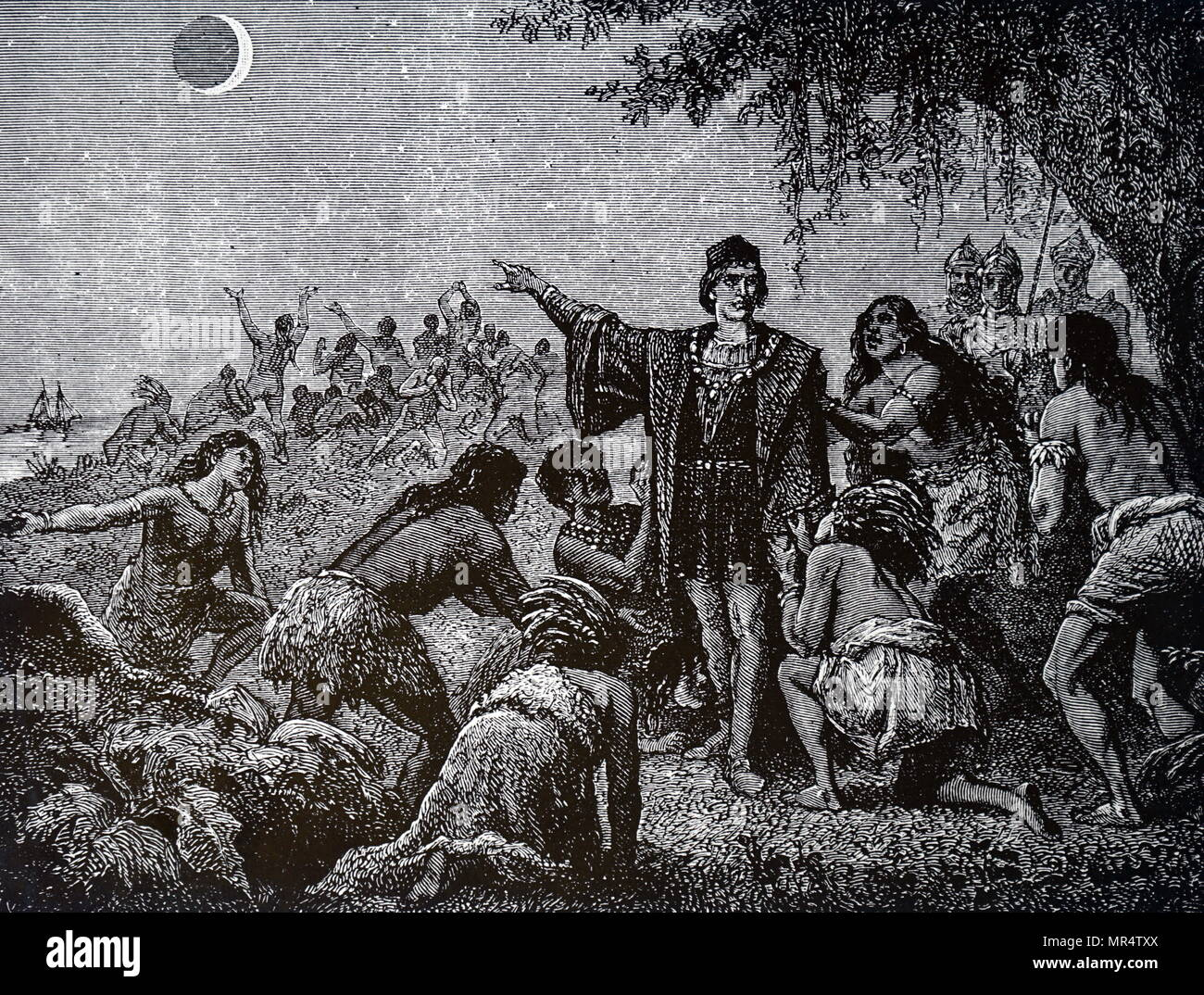 Engraving depicting Indians astonished by the eclipse of the moon, which was foretold by Christopher Columbus. Christopher Columbus (1451-1506) an Italian explorer, navigator, and colonizer. Dated 19th century - Stock Image