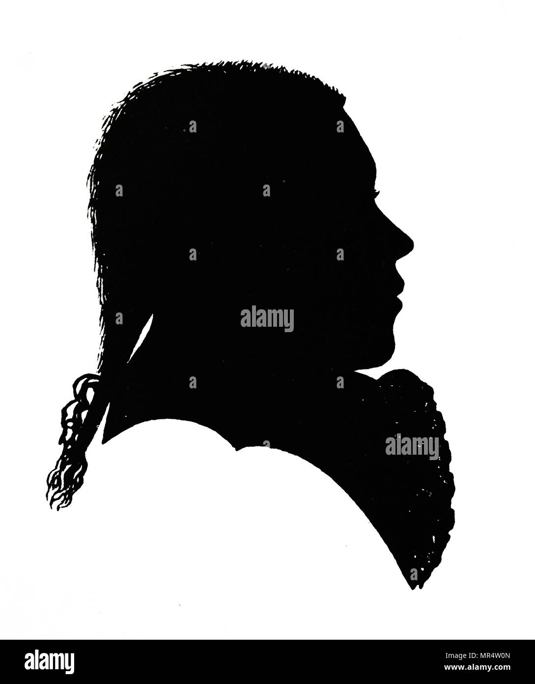 Silhouette of Ludwig van Beethoven (1770-1827) a German composer and pianist. Dated 18th century - Stock Image