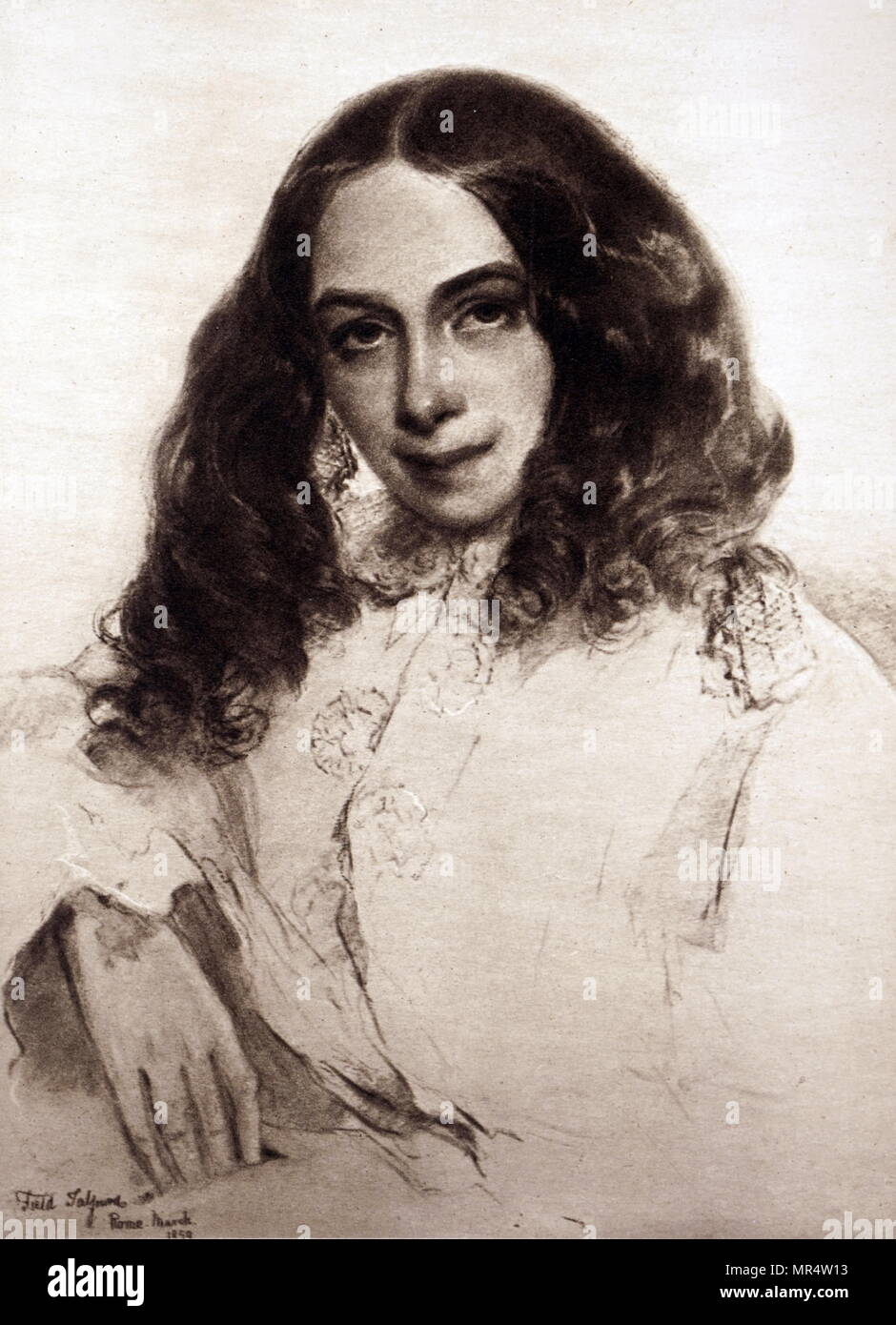 Portrait of Elizabeth Barrett Browning (1806-1861) an English poet of the Victorian era. Dated 19th century - Stock Image