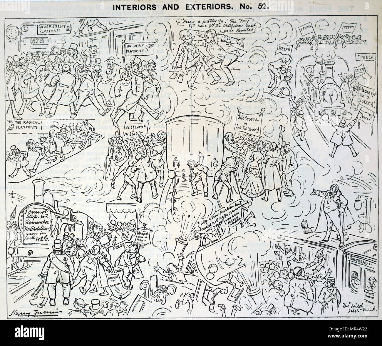Cartoon concerning the role of Lord Salisbury in the 1864 Reform Bill.  Salisbury, (3 February 1830 – 22 August 1903),was a British statesman of the Conservative Party, serving as Prime Minister three times for a total of over thirteen years. - Stock Image