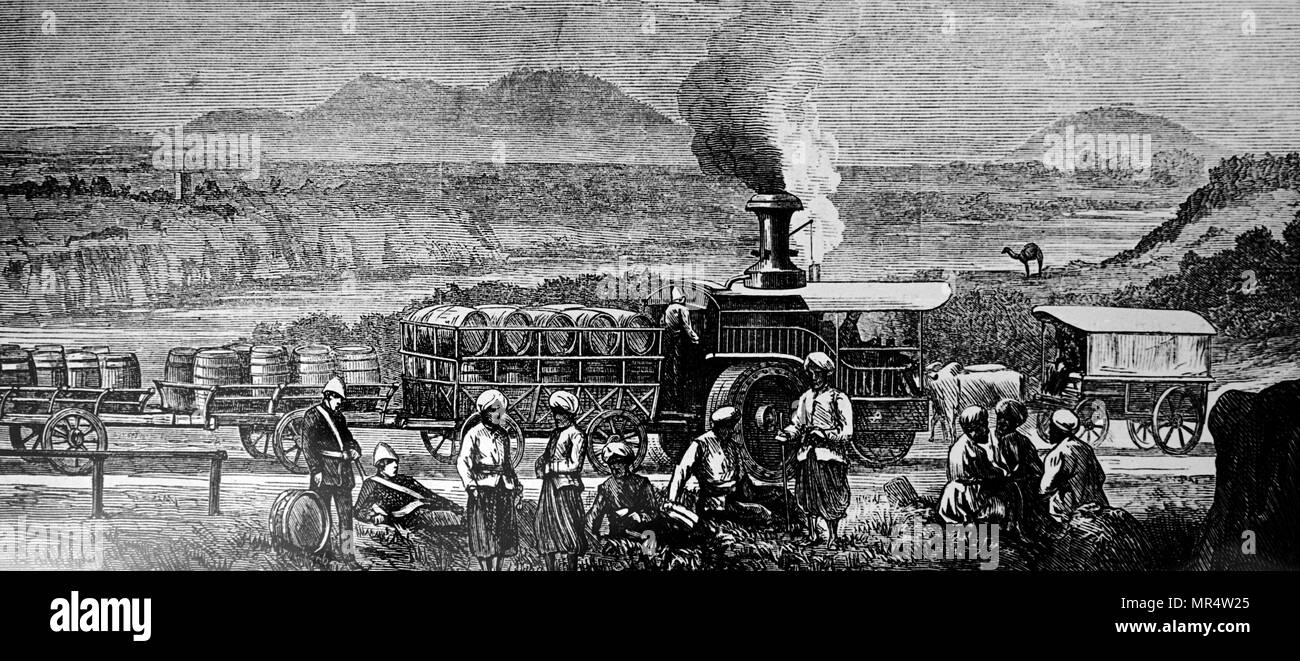 Engraving depicting a traction engine drawing a train on the Grand Trunk Road, Lawrence-pore, India. Dated 19th century - Stock Image