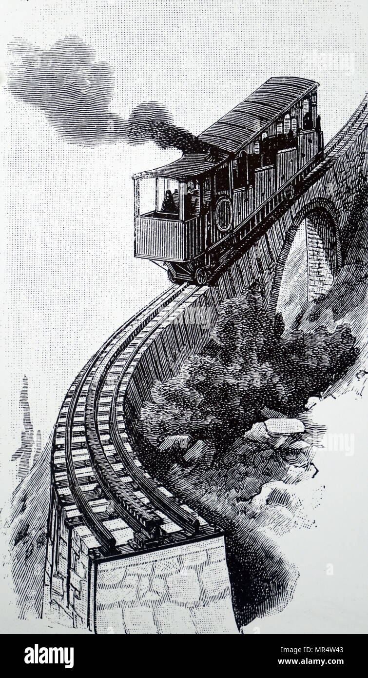 Engraving depicting a train on the Mount Pilatus rack railway designed by Carl Roman Abt. Carl Roman Abt (1850-1933) a Swiss mechanical engineer, inventor and entrepreneur. Dated 19th century - Stock Image