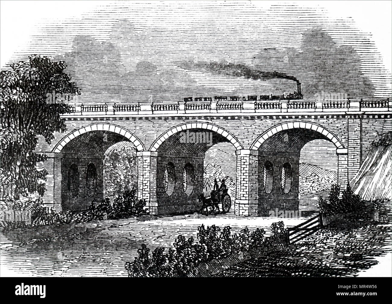 Engraving depicting the Skew bridge across the Lewes turnpike road at Hodshrove. Dated 19th century - Stock Image