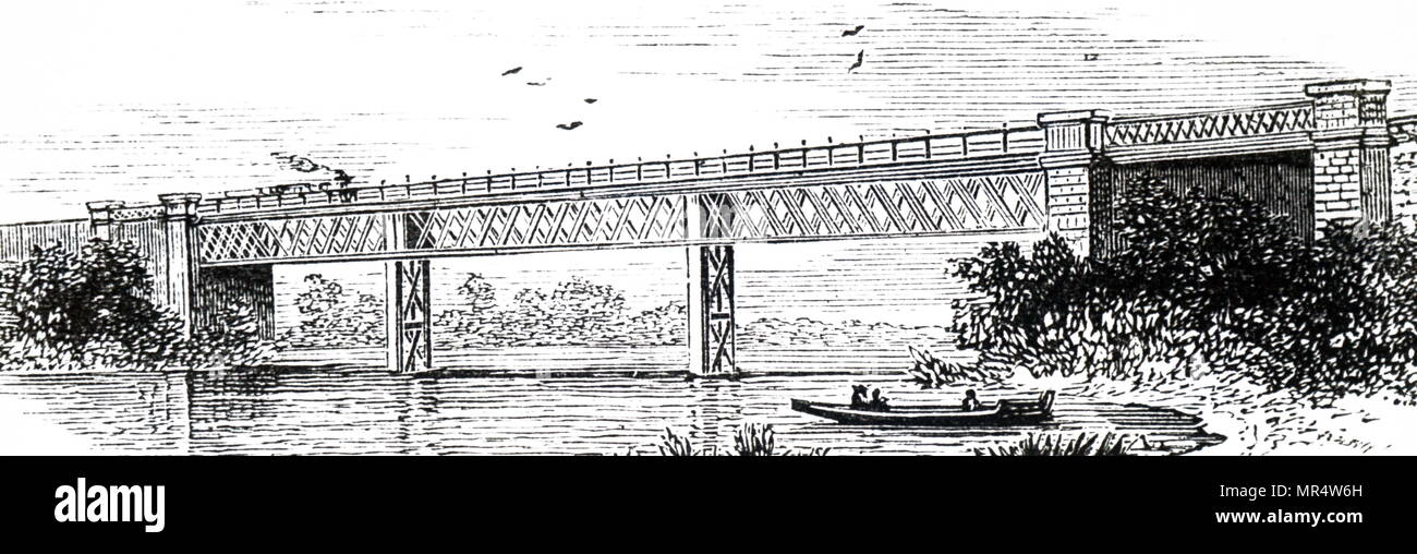 Engraving depicting a lattice girder bridge located on the River Wye, in Whitney-on-Wye, Hereford. Dated 19th century Stock Photo