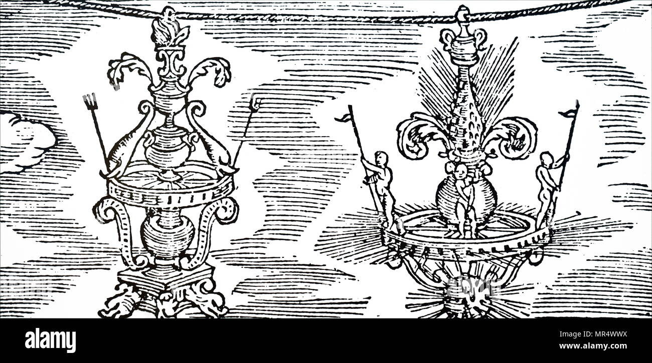 Illustration depicting girandoles: these were elaborate set pieces which were hung from ropes on feast days in Italian cities, particularly in Tuscany. A wooden frame was padded with hay. Figures were constructed in the same way, but with Plaster-of-Paris heads, hands and feet and dressed in painted cloth. In this way a fabulous tale or historical scene was built up. Fireworks were placed all over the structure, including squibs and rockets. A really large piece would contain as many as 3,000 fireworks. Dated 16th century - Stock Image
